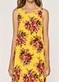 Loves You Keten Karışımlı Eteği Volanlı A Shape Kolsuz Elbise Sarı